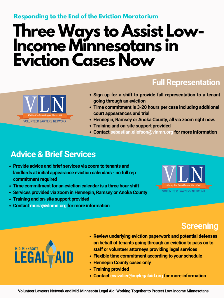 graphic illustrating ways for attorneys to help Minnesota tenants